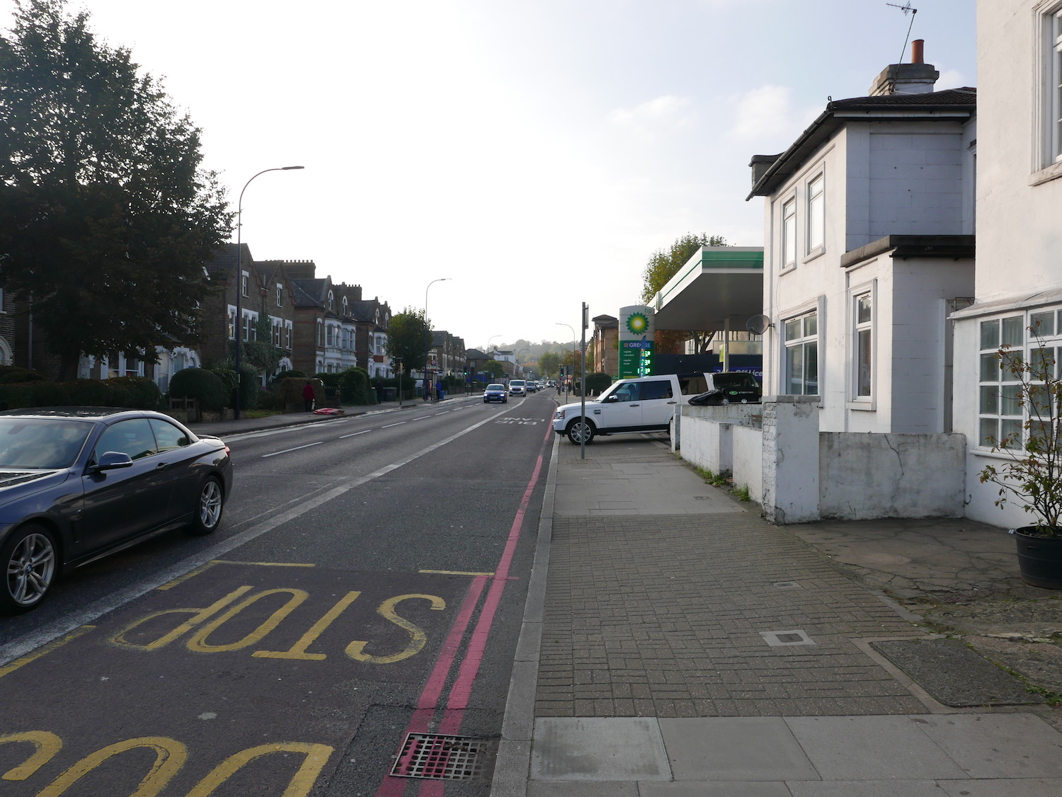 View of a petrol station on the South Circular, London